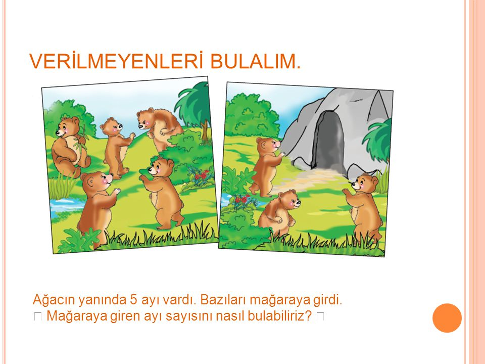 Ağacın yanında 5 ayı vardı. Bazıları mağaraya girdi. ☆ Mağaraya giren ayı sayısını nasıl bulabiliriz? ☆