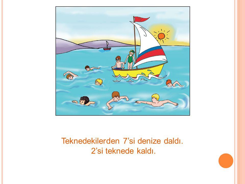 Teknedekilerden 7'si denize daldı. 2'si teknede kaldı.