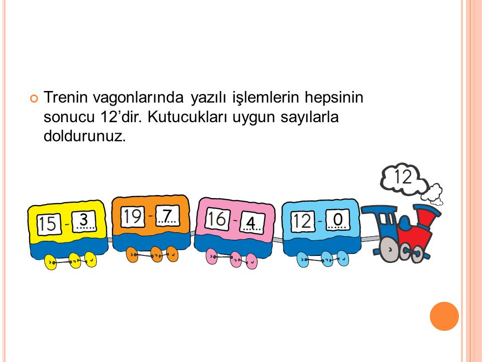 Trenin vagonlarında yazılı işlemlerin hepsinin sonucu 12'dir. Kutucukları uygun sayılarla doldurunuz. 3 7 4 0