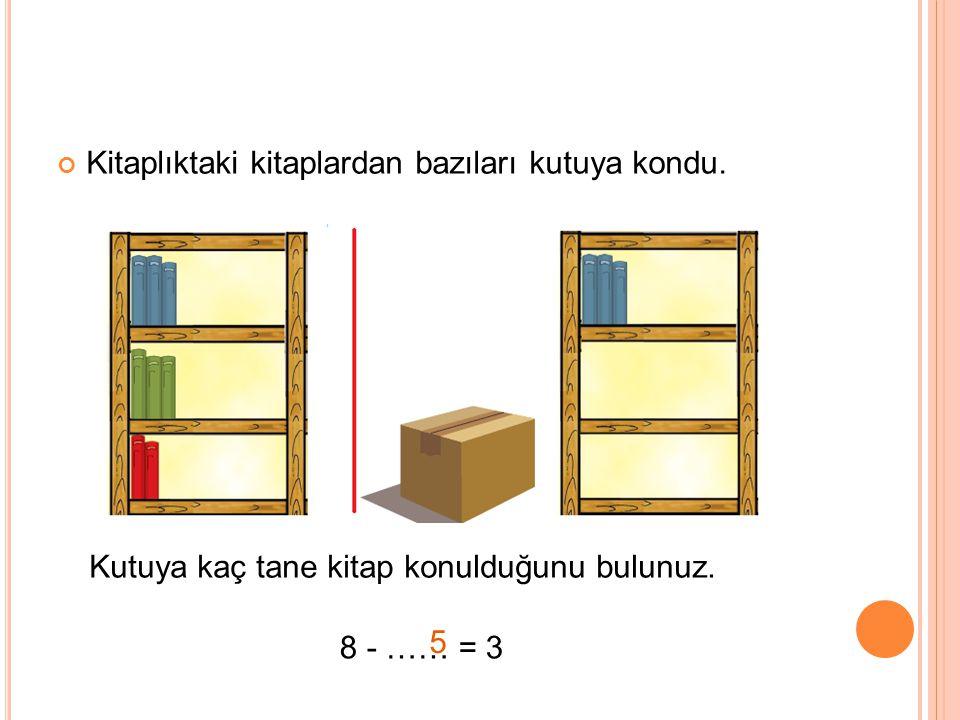 Kitaplıktaki kitaplardan bazıları kutuya kondu. Kutuya kaç tane kitap konulduğunu bulunuz. 8 - …… = 3 5