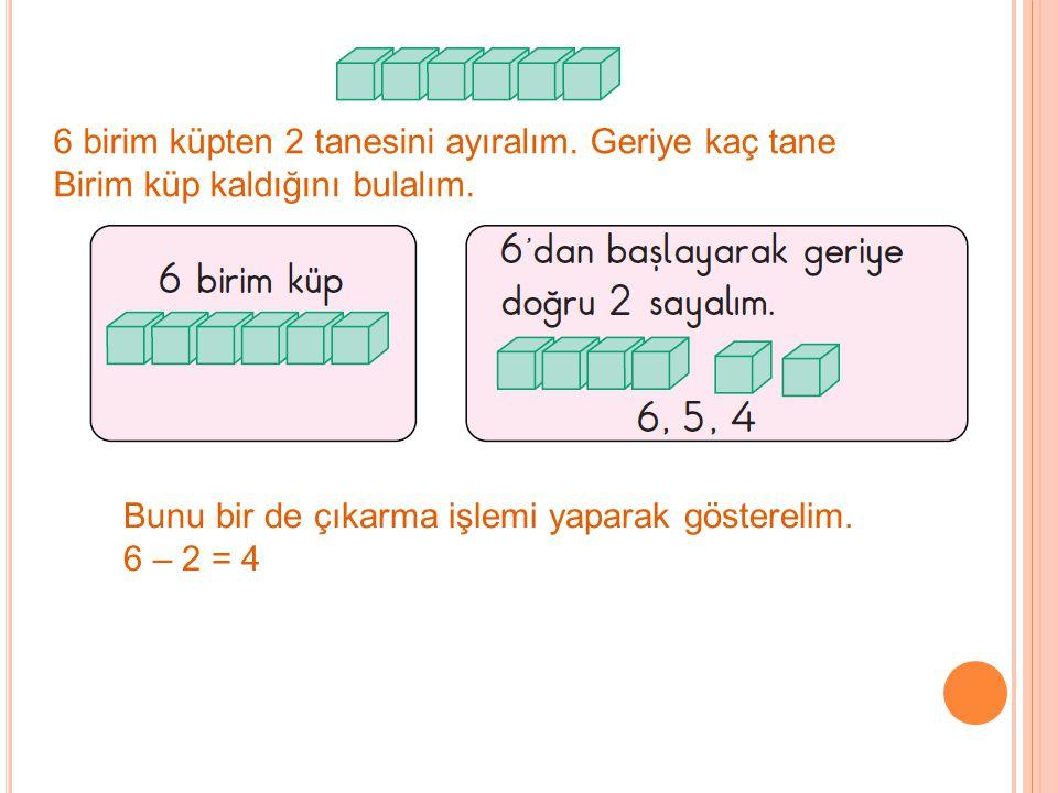 7 - ☆ = 3 Tepsideki limonata sayısı İçilen limonata sayısı Tepside kalan limonata sayısı 7'den 3'e kadar geriye doğru birer birer sayalım.
