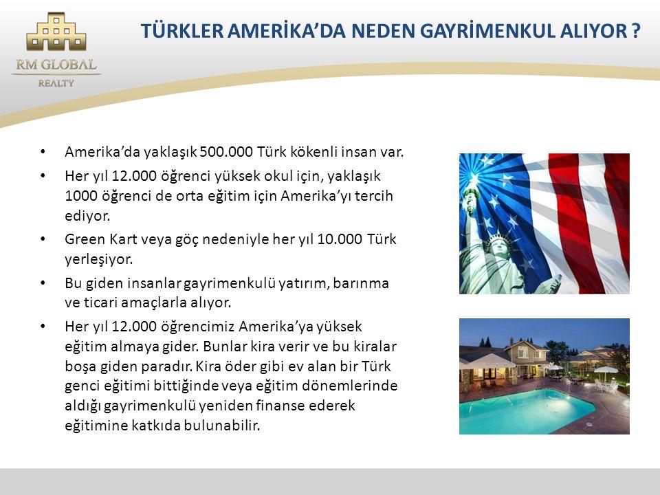 TÜRKLER AMERİKA'DA NEDEN GAYRİMENKUL ALIYOR .• Amerika'da yaklaşık 500.000 Türk kökenli insan var.