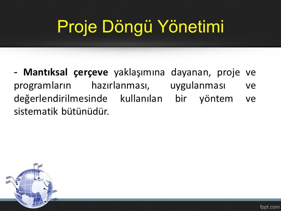 Proje Döngü Yönetimi - Mantıksal çerçeve yaklaşımına dayanan, proje ve programların hazırlanması, uygulanması ve değerlendirilmesinde kullanılan bir y