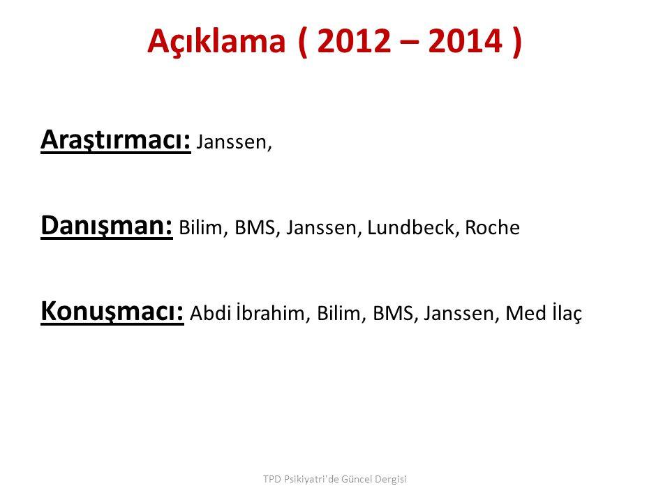 Açıklama ( 2012 – 2014 ) Araştırmacı: Janssen, Danışman: Bilim, BMS, Janssen, Lundbeck, Roche Konuşmacı: Abdi İbrahim, Bilim, BMS, Janssen, Med İlaç T