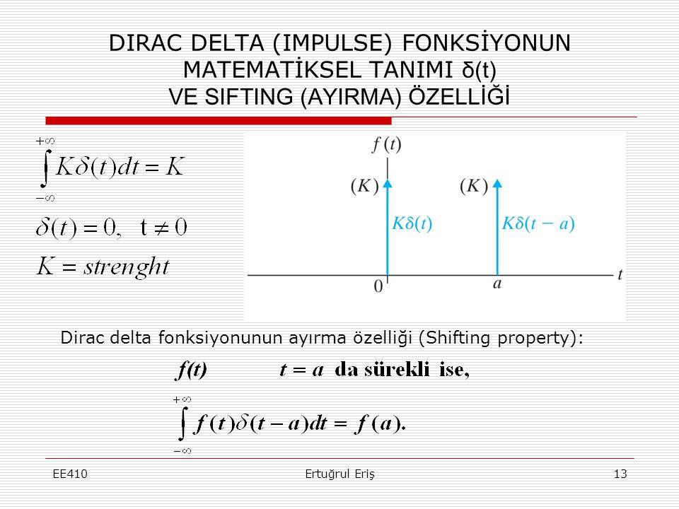 DIRAC DELTA (IMPULSE) FONKSİYONUN MATEMATİKSEL TANIMI δ(t) VE SIFTING (AYIRMA) ÖZELLİĞİ EE41013Ertuğrul Eriş Dirac delta fonksiyonunun ayırma özelliği