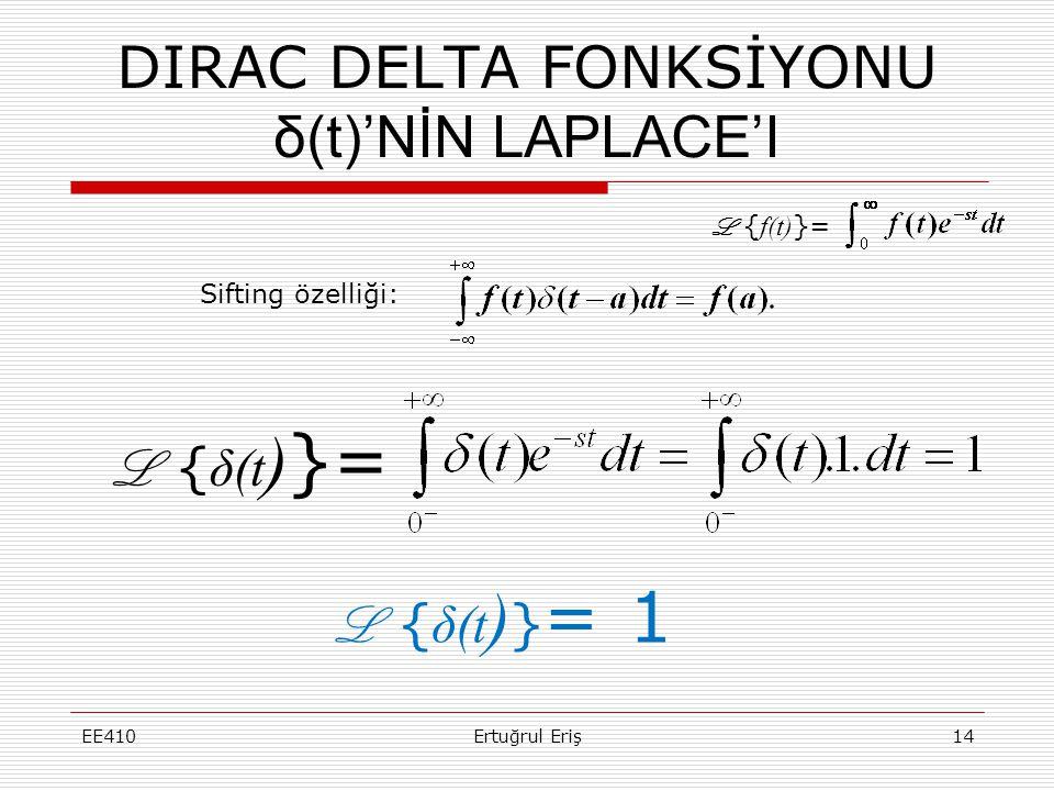DIRAC DELTA FONKSİYONU δ(t)'NİN LAPLACE'I EE410Ertuğrul Eriş14 L { δ(t ) }= Sifting özelliği: L { δ(t ) } = 1 L { f(t) }=