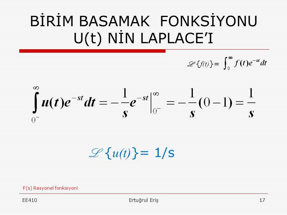 BİRİM BASAMAK FONKSİYONU U(t) NİN LAPLACE'I EE410Ertuğrul Eriş17 L { u(t) }= 1/s L { f(t) }= F(s) Rasyonel fonksiyon!