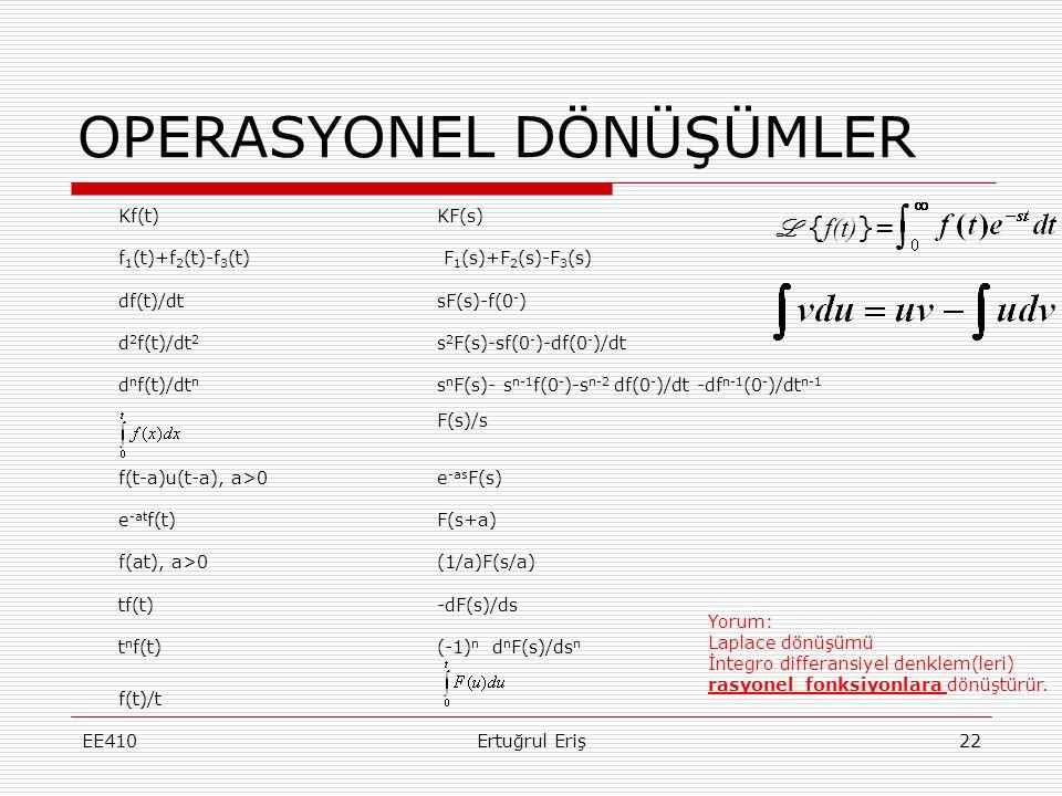 OPERASYONEL DÖNÜŞÜMLER EE410Ertuğrul Eriş22 Kf(t)KF(s) f 1 (t)+f 2 (t)-f 3 (t) F 1 (s)+F 2 (s)-F 3 (s) df(t)/dtsF(s)-f(0 - ) d 2 f(t)/dt 2 s 2 F(s)-sf