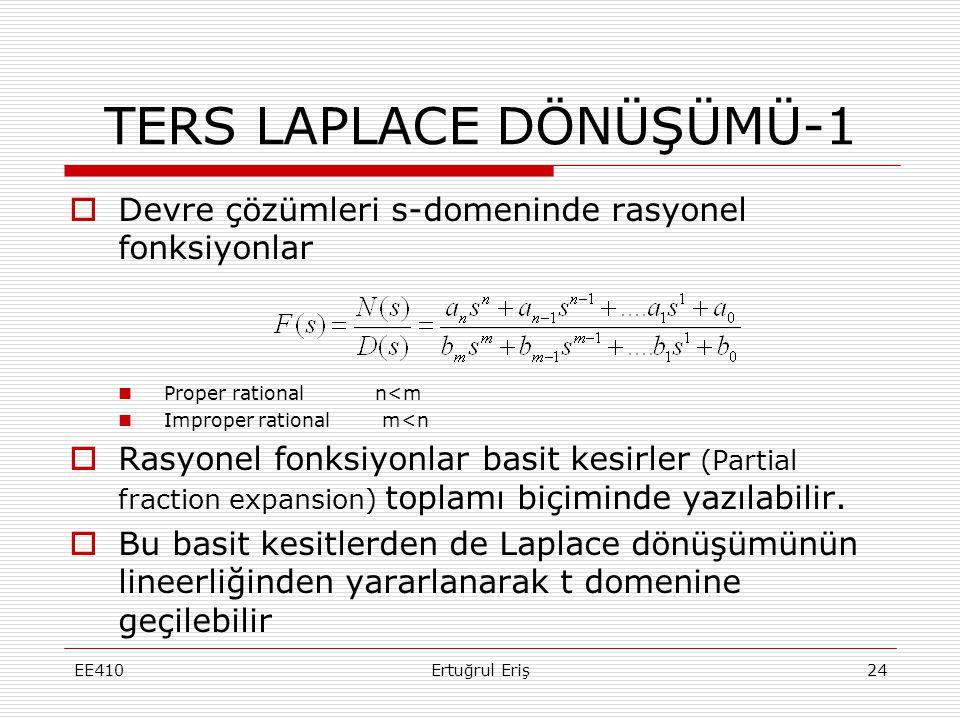 TERS LAPLACE DÖNÜŞÜMÜ-1  Devre çözümleri s-domeninde rasyonel fonksiyonlar  Proper rational n<m  Improper rational m<n  Rasyonel fonksiyonlar basi