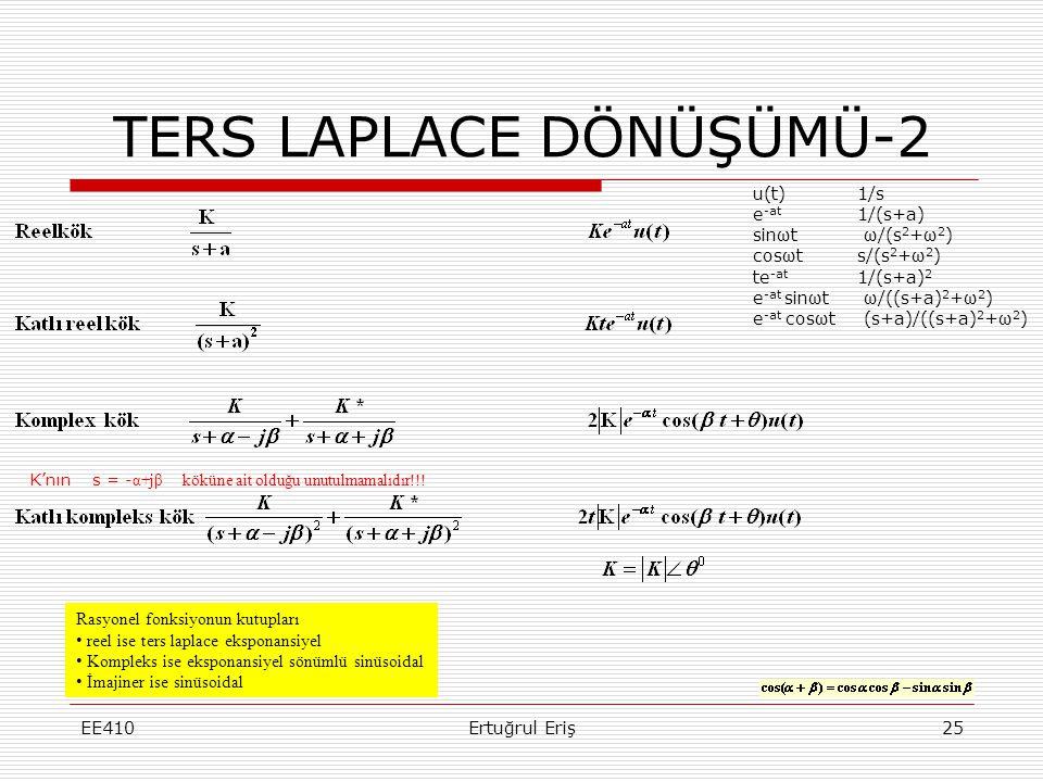 EE410Ertuğrul Eriş25 TERS LAPLACE DÖNÜŞÜMÜ-2 Rasyonel fonksiyonun kutupları • reel ise ters laplace eksponansiyel • Kompleks ise eksponansiyel sönümlü