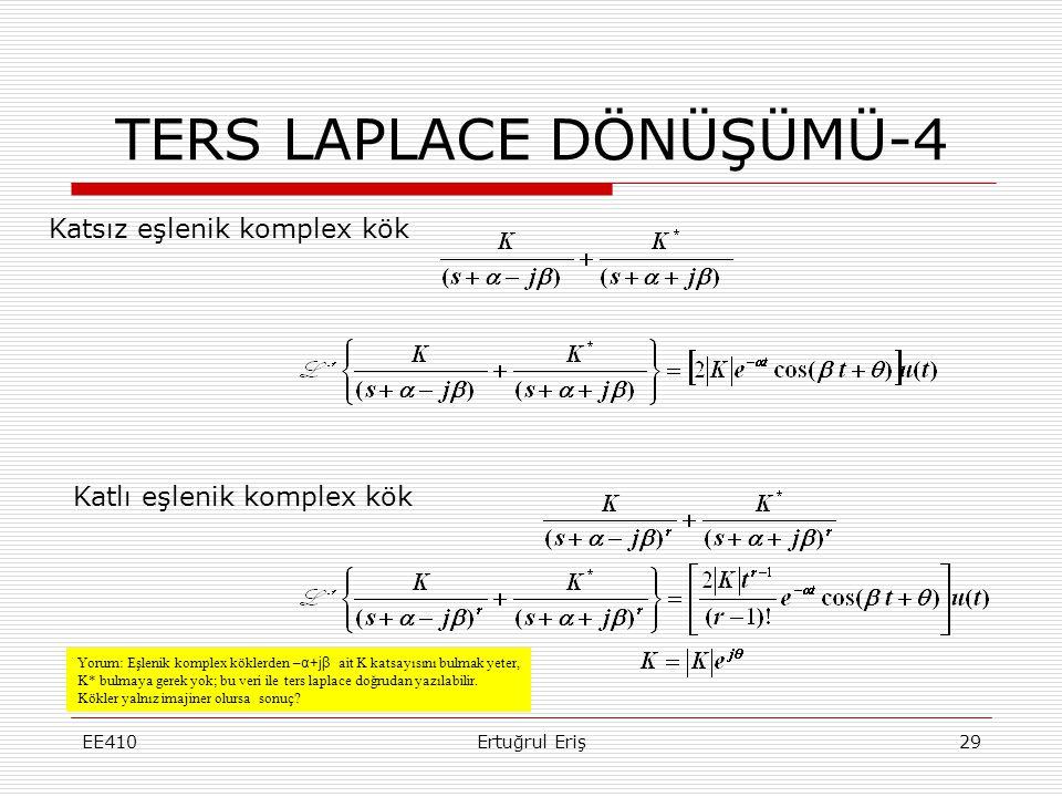 EE410Ertuğrul Eriş29 TERS LAPLACE DÖNÜŞÜMÜ-4 Yorum: Eşlenik komplex köklerden – α+jβ ait K katsayısını bulmak yeter, K* bulmaya gerek yok; bu veri ile