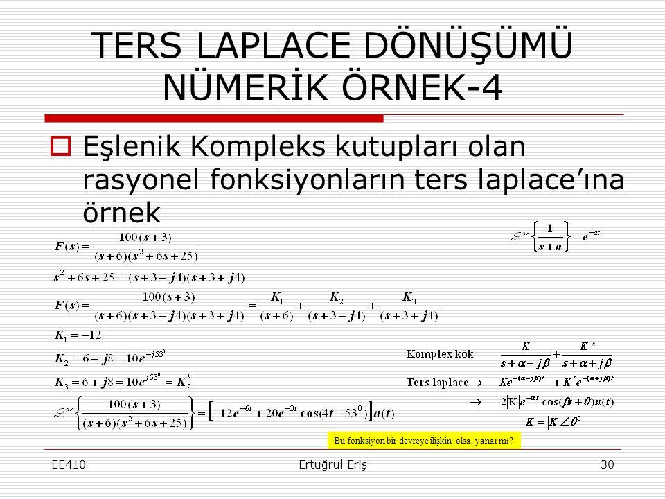  Eşlenik Kompleks kutupları olan rasyonel fonksiyonların ters laplace'ına örnek EE410Ertuğrul Eriş30 TERS LAPLACE DÖNÜŞÜMÜ NÜMERİK ÖRNEK-4 Bu fonksiy