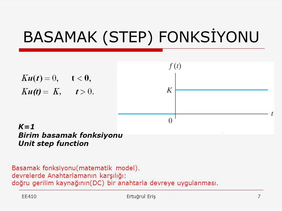 BASAMAK (STEP) FONKSİYONU EE4107Ertuğrul Eriş Basamak fonksiyonu(matematik model). devrelerde Anahtarlamanın karşılığı: doğru gerilim kaynağının(DC) b
