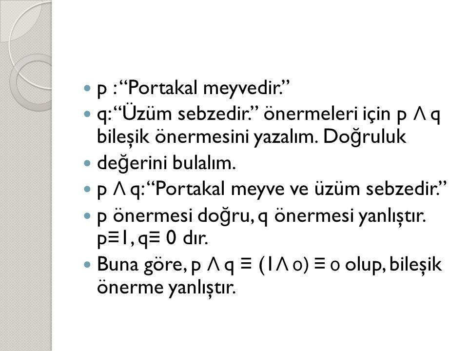 """ p : """"Portakal meyvedir.""""  q: """"Üzüm sebzedir."""" önermeleri için p Λ q bileşik önermesini yazalım. Do ğ ruluk  de ğ erini bulalım.  p Λ q: """"Portakal"""