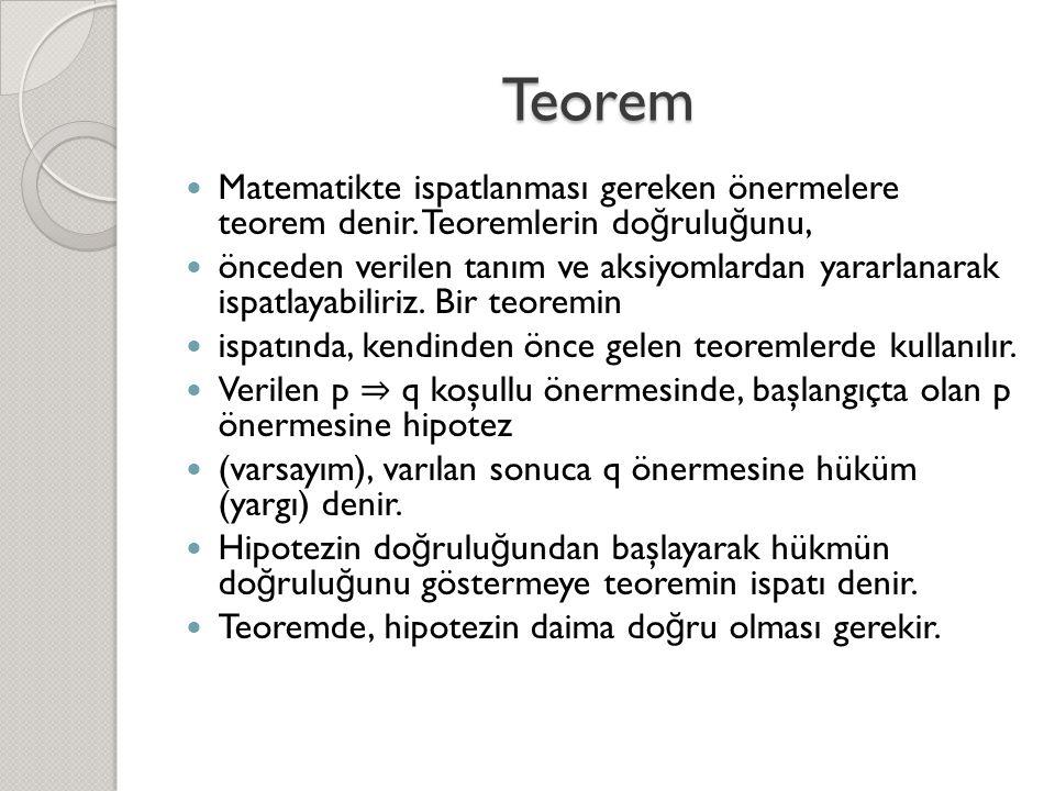 Teorem  Matematikte ispatlanması gereken önermelere teorem denir. Teoremlerin do ğ rulu ğ unu,  önceden verilen tanım ve aksiyomlardan yararlanarak