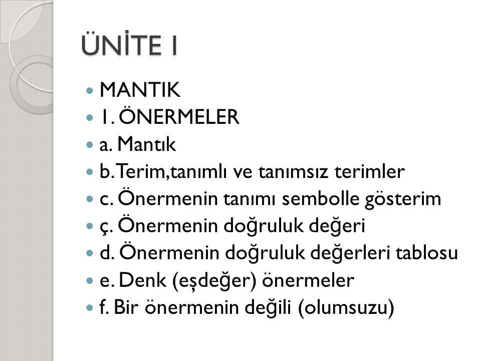 ÜN İ TE I  MANTIK  1. ÖNERMELER  a. Mantık  b. Terim,tanımlı ve tanımsız terimler  c. Önermenin tanımı sembolle gösterim  ç. Önermenin do ğ rulu