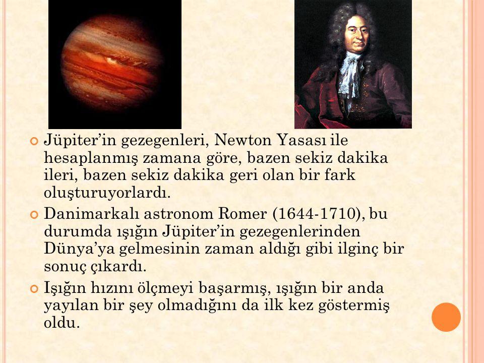 Jüpiter'in gezegenleri, Newton Yasası ile hesaplanmış zamana göre, bazen sekiz dakika ileri, bazen sekiz dakika geri olan bir fark oluşturuyorlardı. D