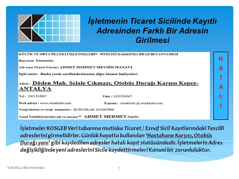 KOBİ BİLGİ BEYANNAMESİ NASIL DOLDURULUR.
