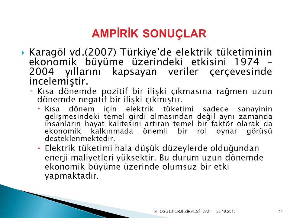  Karagöl vd.(2007) Türkiye'de elektrik tüketiminin ekonomik büyüme üzerindeki etkisini 1974 – 2004 yıllarını kapsayan veriler çerçevesinde incelemişt
