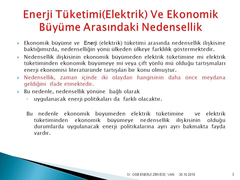  Karagöl vd.(2007) Türkiye'de elektrik tüketiminin ekonomik büyüme üzerindeki etkisini 1974 – 2004 yıllarını kapsayan veriler çerçevesinde incelemiştir.