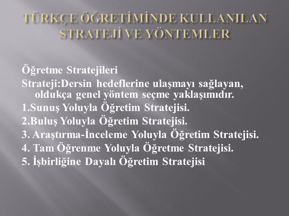 Öğretme Stratejileri Strateji:Dersin hedeflerine ulaşmayı sağlayan, oldukça genel yöntem seçme yaklaşımıdır.
