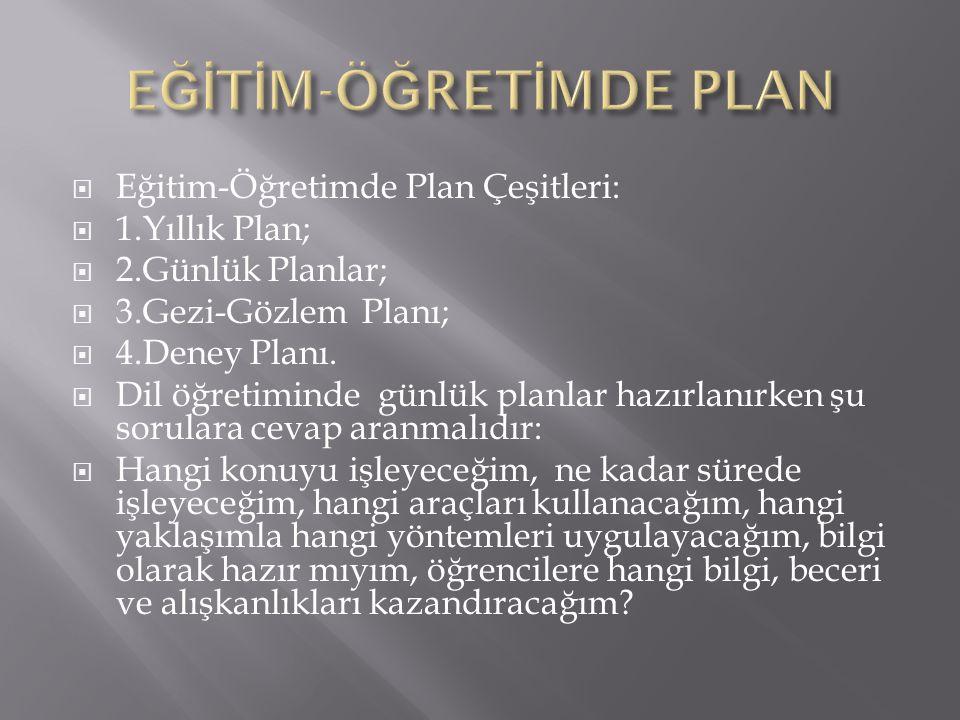  Eğitim-Öğretimde Plan Çeşitleri:  1.Yıllık Plan;  2.Günlük Planlar;  3.Gezi-Gözlem Planı;  4.Deney Planı.