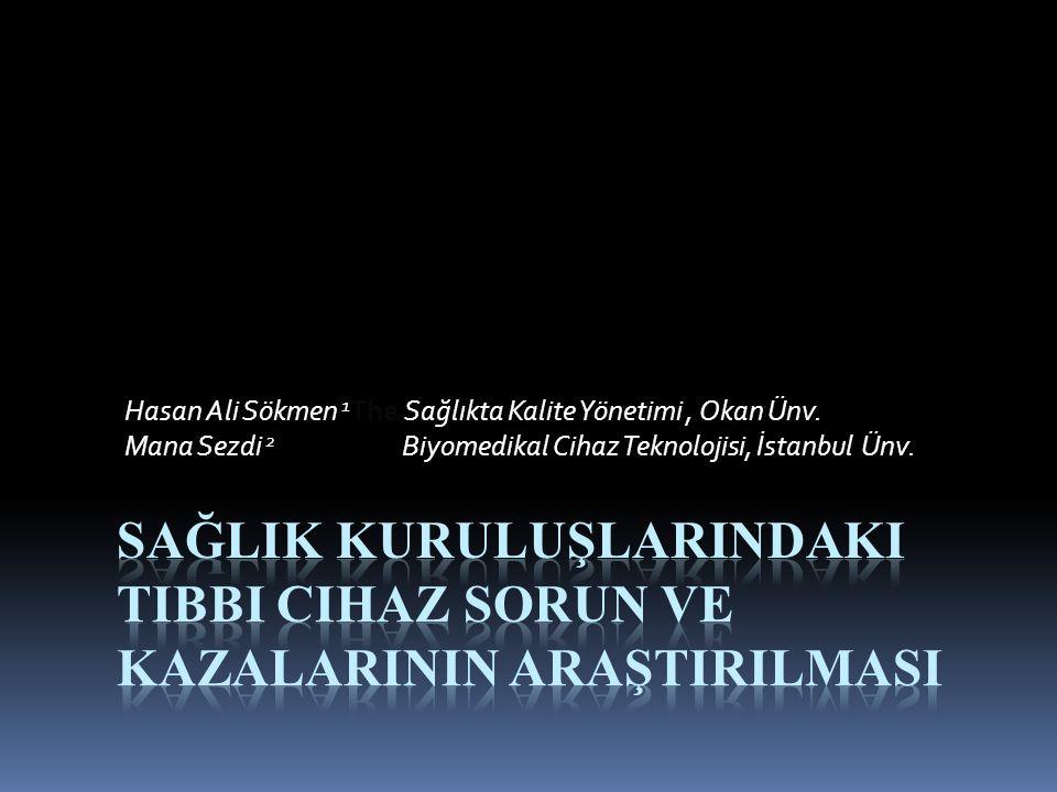 Hasan Ali Sökmen 1 The Sağlıkta Kalite Yönetimi, Okan Ünv. Mana Sezdi 2 Biyomedikal Cihaz Teknolojisi, İstanbul Ünv.