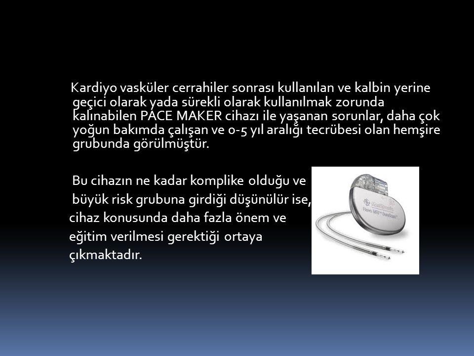 Kardiyo vasküler cerrahiler sonrası kullanılan ve kalbin yerine geçici olarak yada sürekli olarak kullanılmak zorunda kalınabilen PACE MAKER cihazı il
