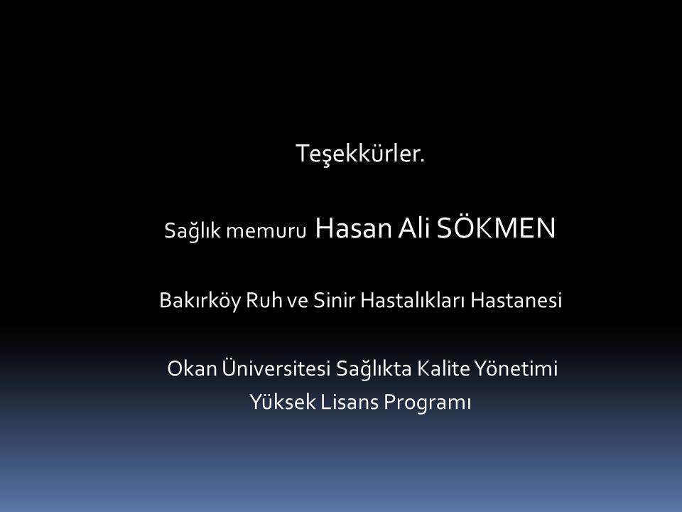Teşekkürler. Sağlık memuru Hasan Ali SÖKMEN Bakırköy Ruh ve Sinir Hastalıkları Hastanesi Okan Üniversitesi Sağlıkta Kalite Yönetimi Yüksek Lisans Prog