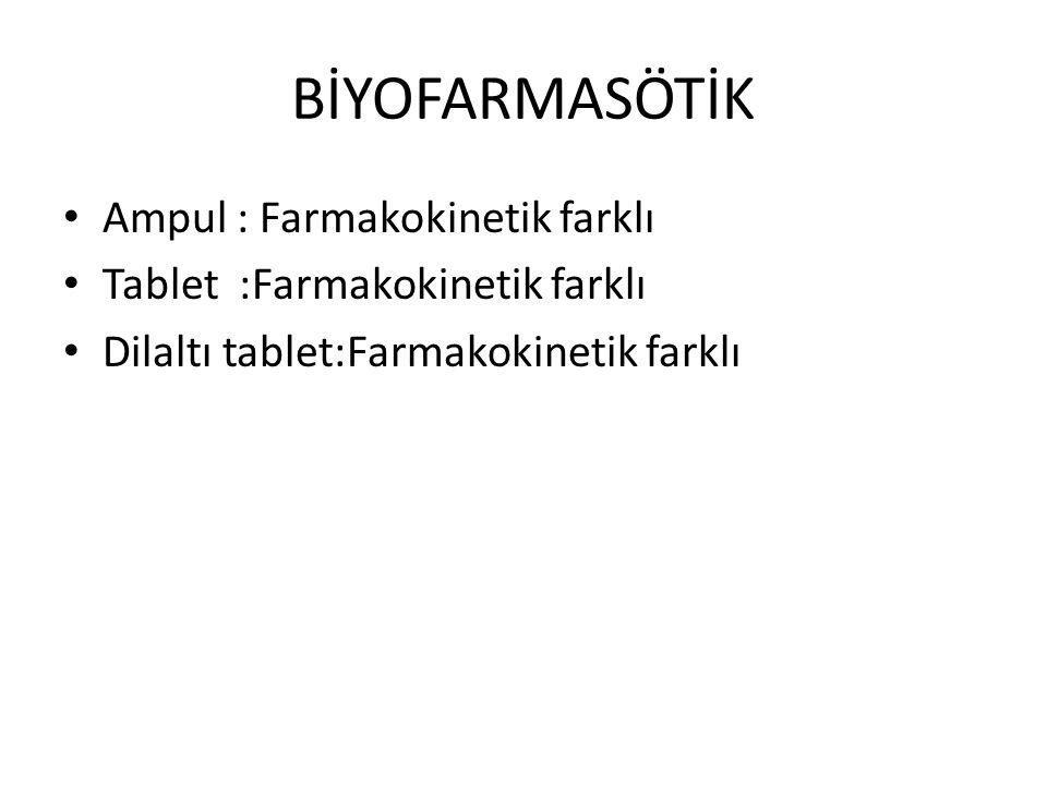 BİYOFARMASÖTİK • Ampul : Farmakokinetik farklı • Tablet :Farmakokinetik farklı • Dilaltı tablet:Farmakokinetik farklı