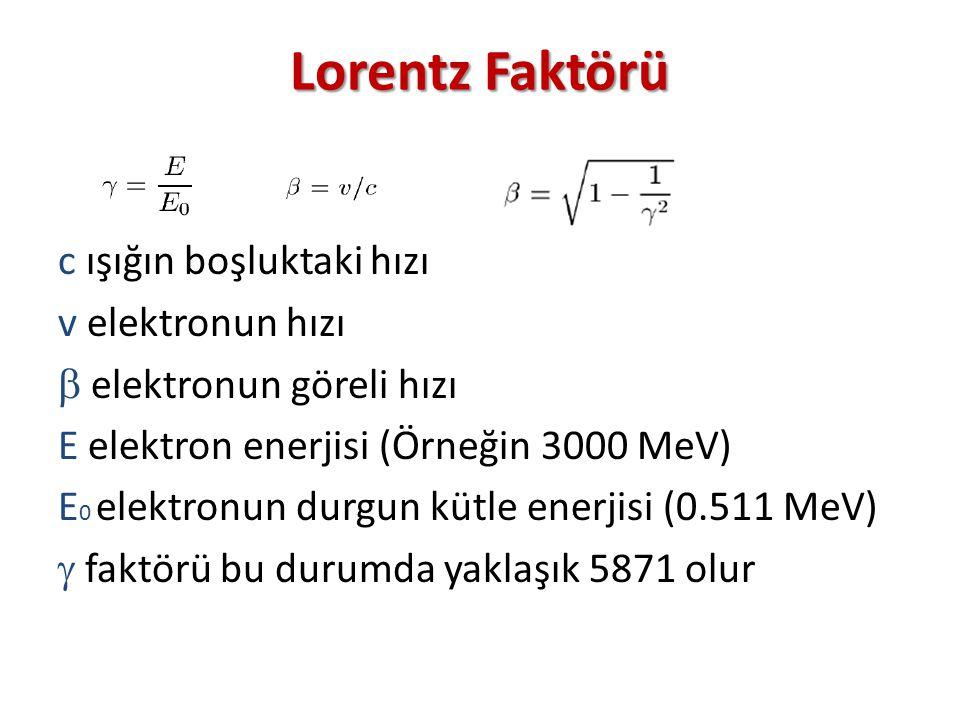Lorentz Faktörü c ışığın boşluktaki hızı v elektronun hızı  elektronun göreli hızı E elektron enerjisi (Örneğin 3000 MeV) E 0 elektronun durgun kütle