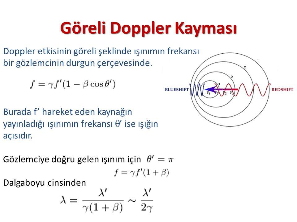 Göreli Doppler Kayması Doppler etkisinin göreli şeklinde ışınımın frekansı bir gözlemcinin durgun çerçevesinde. Burada f' hareket eden kaynağın yayınl