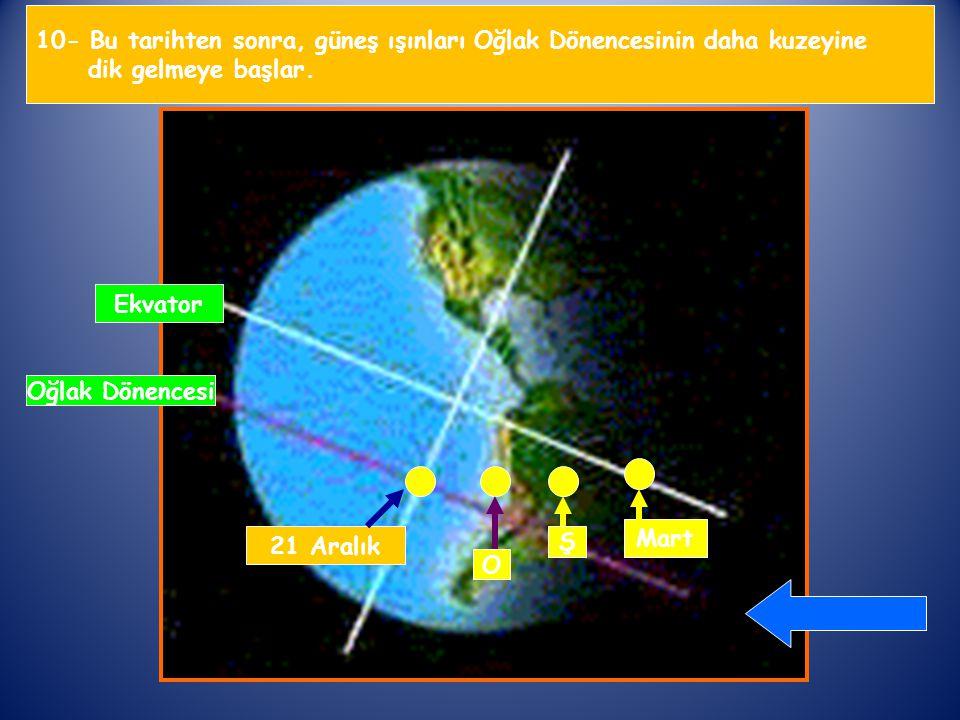 10- Bu tarihten sonra, güneş ışınları Oğlak Dönencesinin daha kuzeyine dik gelmeye başlar.