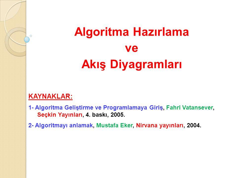 KAYNAKLAR: 1- Algoritma Geliştirme ve Programlamaya Giriş, Fahri Vatansever, Seçkin Yayınları, 4. baskı, 2005. 2- Algoritmayı anlamak, Mustafa Eker, N