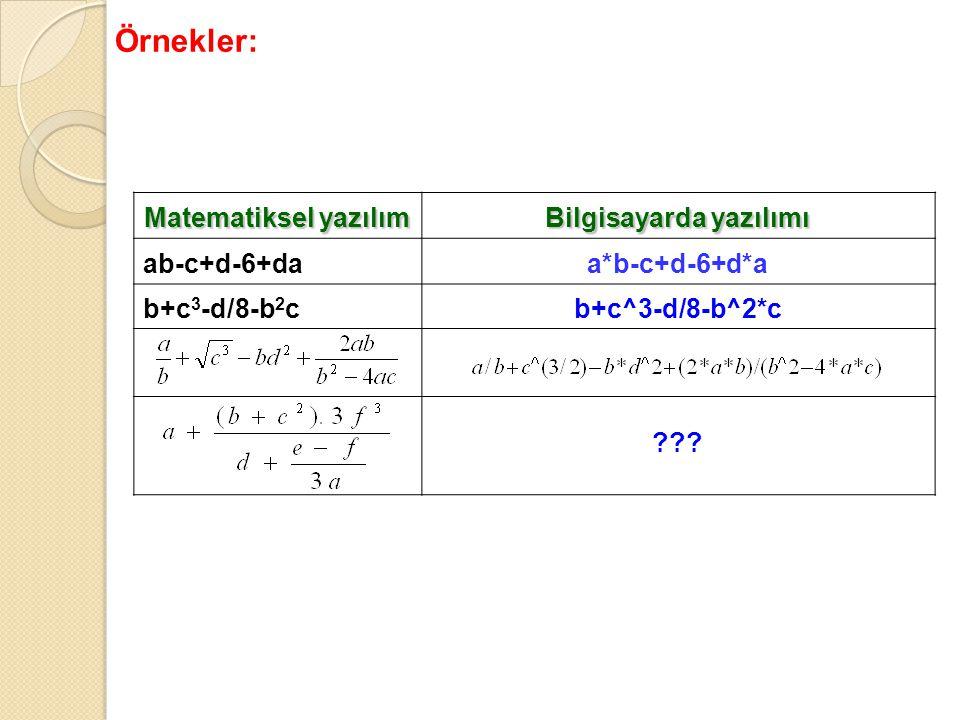 Matematiksel yazılım Bilgisayarda yazılımı ab-c+d-6+daa*b-c+d-6+d*a b+c 3 -d/8-b 2 cb+c^3-d/8-b^2*c ??? Örnekler: