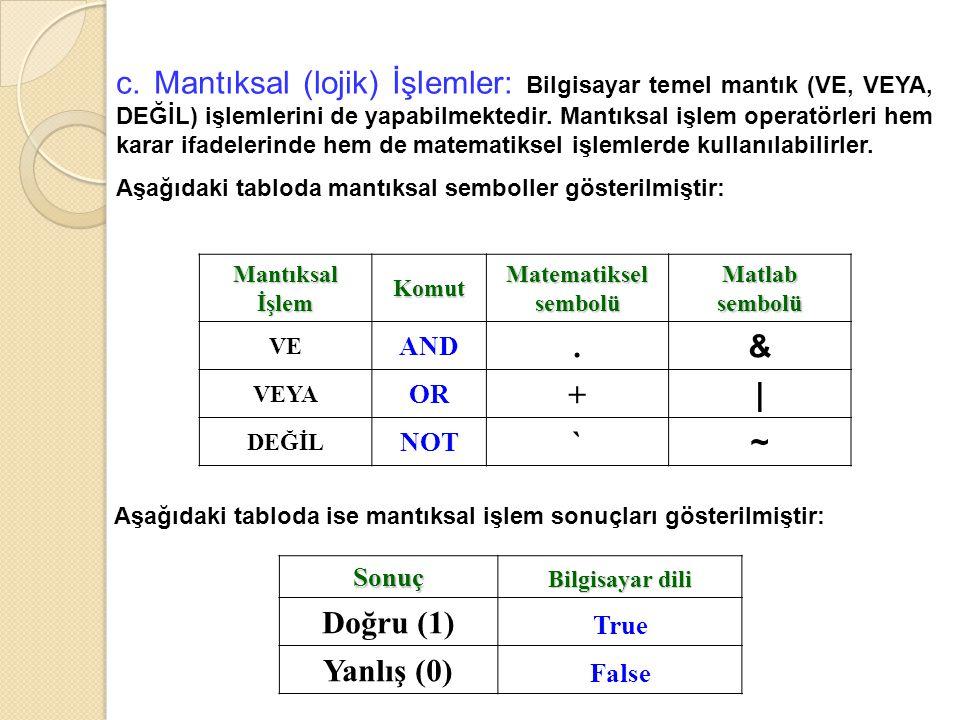 c. Mantıksal (lojik) İşlemler: Bilgisayar temel mantık (VE, VEYA, DEĞİL) işlemlerini de yapabilmektedir. Mantıksal işlem operatörleri hem karar ifadel