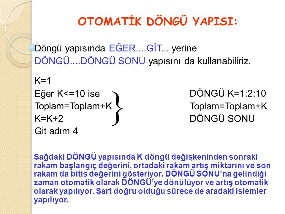 OTOMATİK DÖNGÜ YAPISI: K=1 Eğer K<=10 ise Toplam=Toplam+K K=K+2 Git adım 4  Döngü yapısında EĞER....GİT... yerine DÖNGÜ....DÖNGÜ SONU yapısını da kul