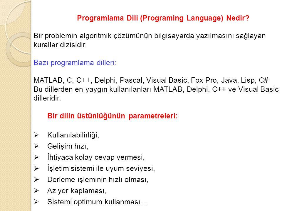 Programlama Dili (Programing Language) Nedir? Bir problemin algoritmik çözümünün bilgisayarda yazılmasını sağlayan kurallar dizisidir. Bazı programlam