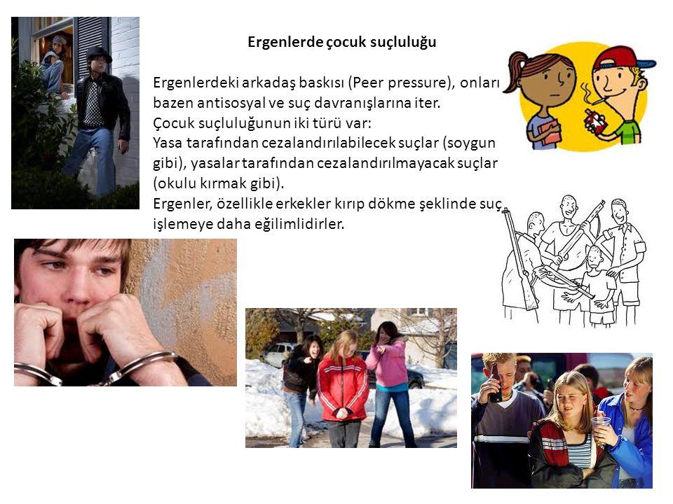 Ergenlerde çocuk suçluluğu Ergenlerdeki arkadaş baskısı (Peer pressure), onları bazen antisosyal ve suç davranışlarına iter. Çocuk suçluluğunun iki tü