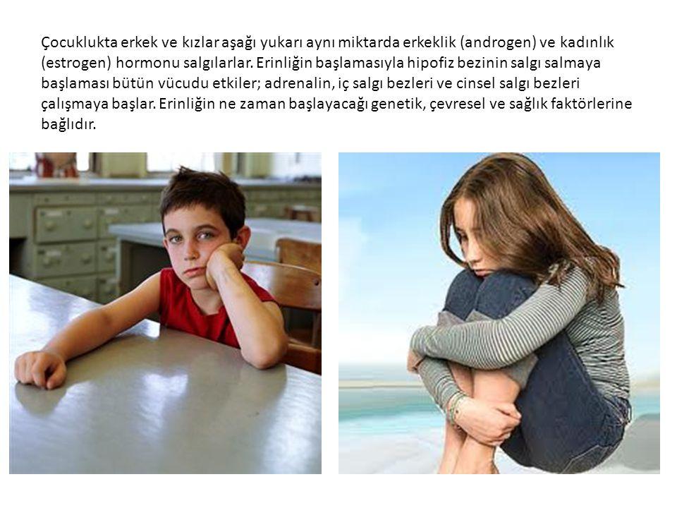 Çocuklukta erkek ve kızlar aşağı yukarı aynı miktarda erkeklik (androgen) ve kadınlık (estrogen) hormonu salgılarlar. Erinliğin başlamasıyla hipofiz b