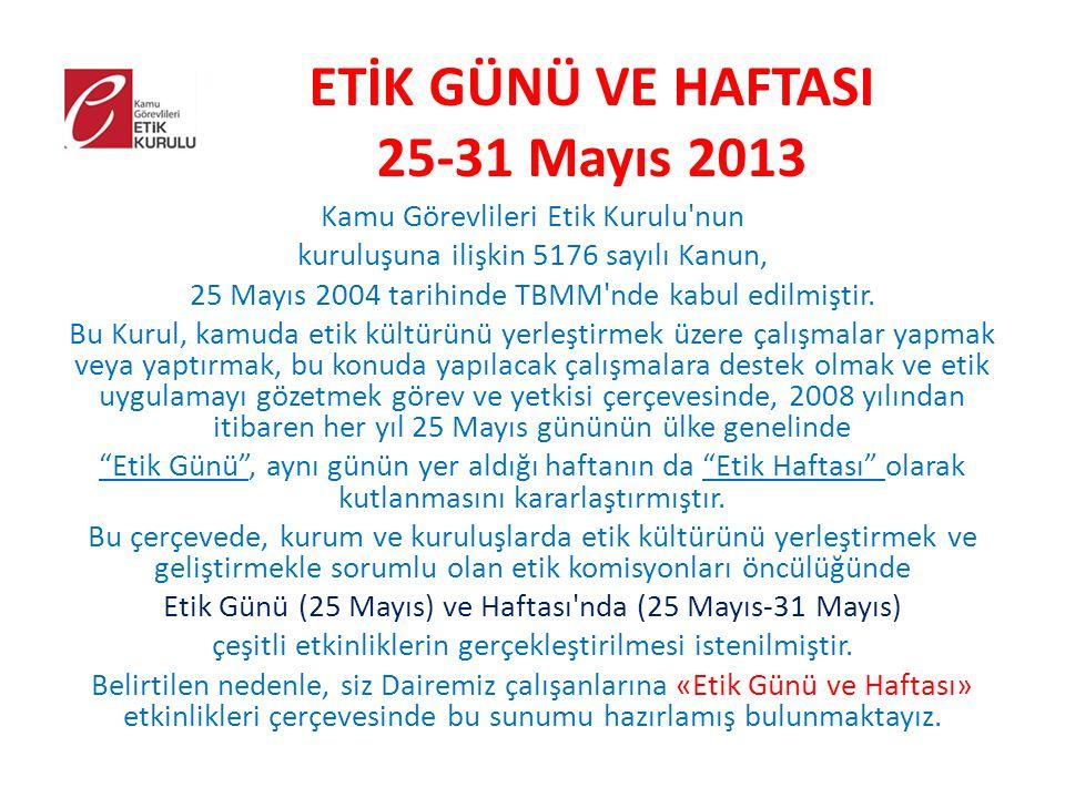 ETİK GÜNÜ VE HAFTASI 25-31 Mayıs 2013 Kamu Görevlileri Etik Kurulu'nun kuruluşuna ilişkin 5176 sayılı Kanun, 25 Mayıs 2004 tarihinde TBMM'nde kabul ed