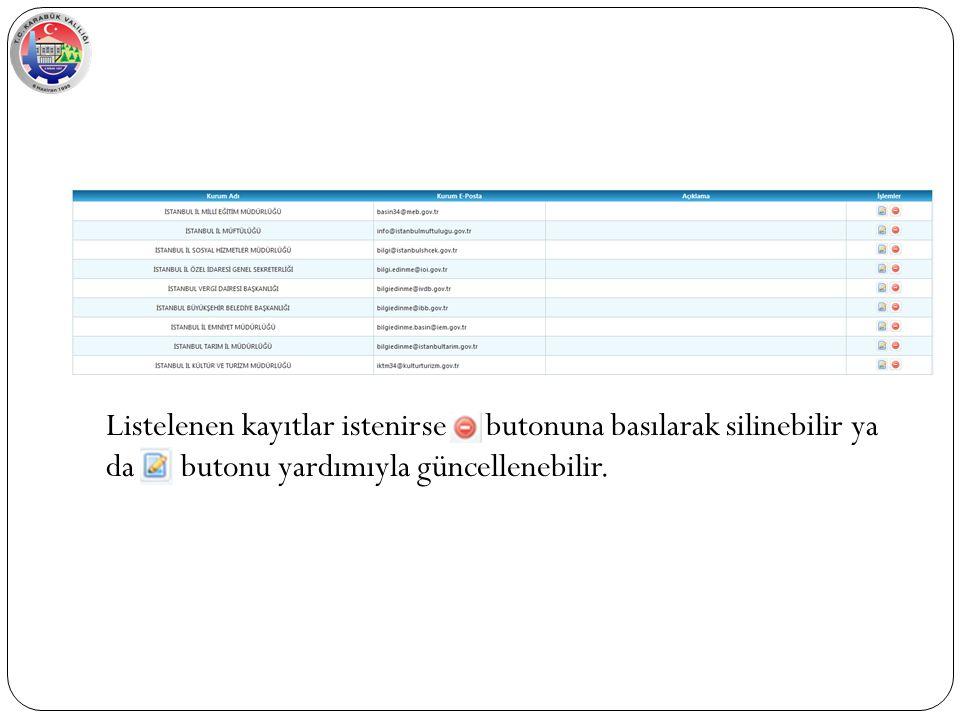 Listelenen kayıtlar istenirse butonuna basılarak silinebilir ya da butonu yardımıyla güncellenebilir.