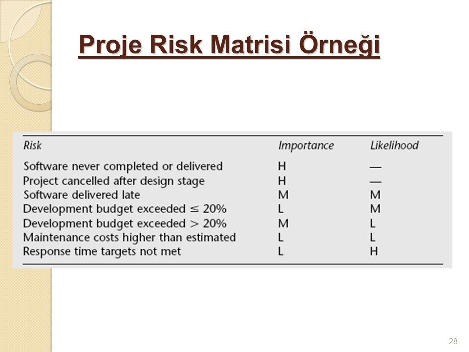 Proje Risk Matrisi Örneği 28
