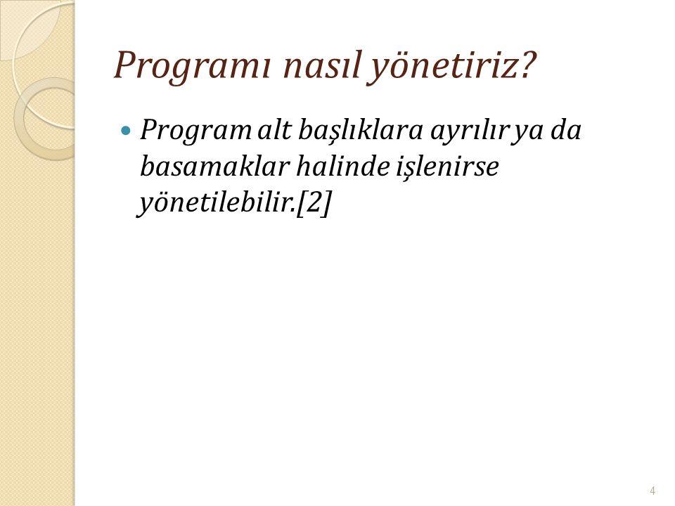 Programı nasıl yönetiriz?  Program alt başlıklara ayrılır ya da basamaklar halinde işlenirse yönetilebilir.[2] 4