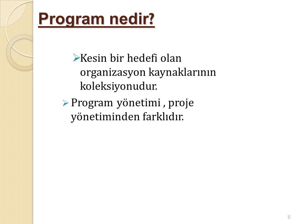 Program nedir ?  Kesin bir hedefi olan organizasyon kaynaklarının koleksiyonudur.  Program yönetimi, proje yönetiminden farklıdır. 6