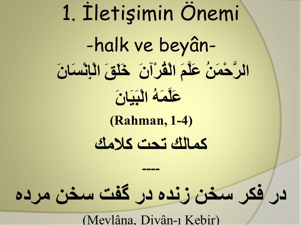 1. İletişimin Önemi -halk ve beyân- الرَّحْمَنُ عَلَّمَ الْقُرْآنَ خَلَقَ الْإِنْسَانَ عَلَّمَهُ الْبَيَانَ (Rahman, 1-4) كمالك تحت كلامك ---- در فكر