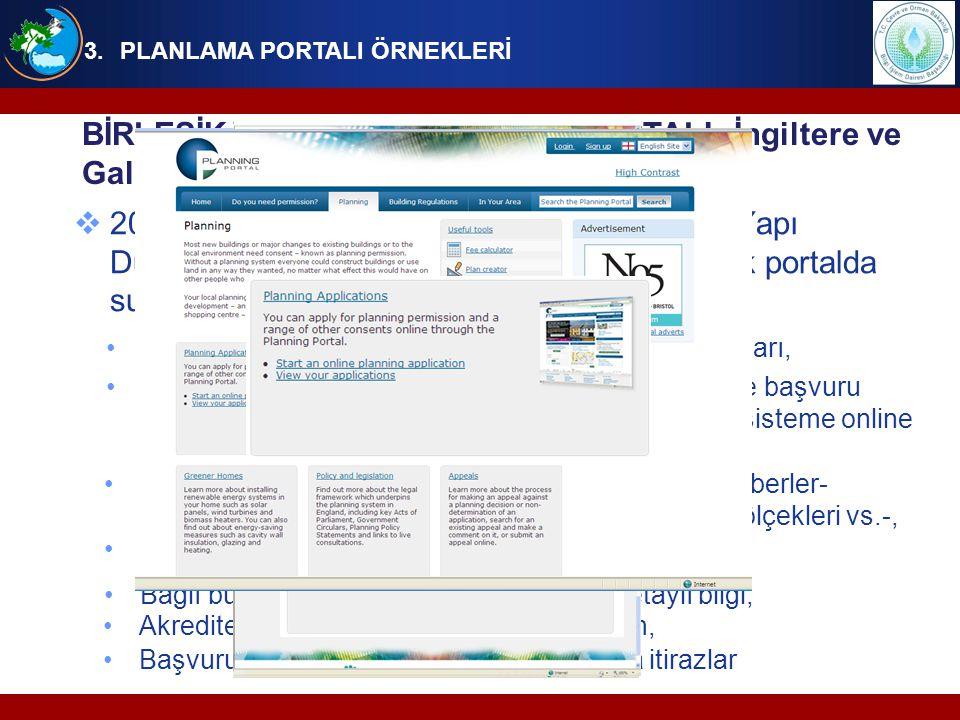 Portaldan ilk planlama başvurusu Nisan 2003'te yapılmıştır,  2008'de tamamlanan 1APP(One Application) projesi ile planlama süreçlerindeki tutarsızlıklar ve yerel bazlı uygulamaların (örneğin formların) yerine ulusal ölçekte standart uygulamalar geliştirilmiştir,  2010 yılının ilk çeyreğinde İngiltere ve Galler'in planlama başvurularının %45'i portal aracılığı ile yapılmıştır, 3.PLANLAMA PORTALI ÖRNEKLERİ BİRLEŞİK KRALLIK PLANLAMA PORTALI- İngiltere ve Galler'i kapsayan