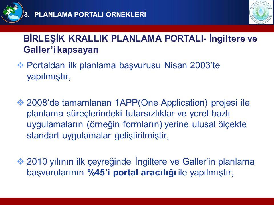  Portaldan ilk planlama başvurusu Nisan 2003'te yapılmıştır,  2008'de tamamlanan 1APP(One Application) projesi ile planlama süreçlerindeki tutarsızl