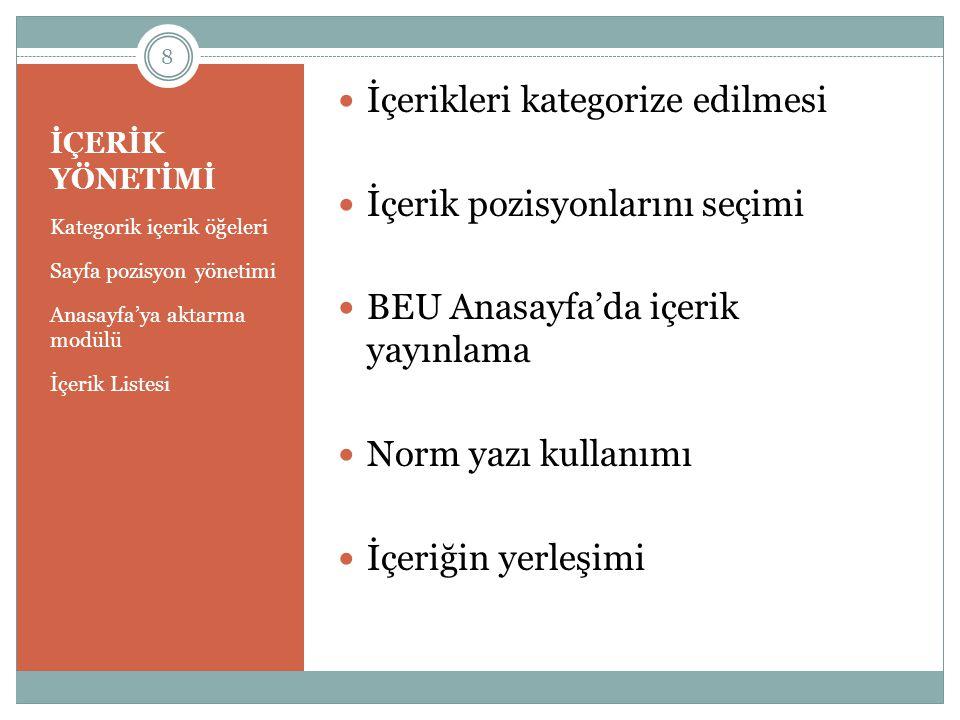 İÇERİK YÖNETİMİ Kategorik içerik öğeleri Sayfa pozisyon yönetimi Anasayfa'ya aktarma modülü İçerik Listesi  İçerikleri kategorize edilmesi  İçerik p