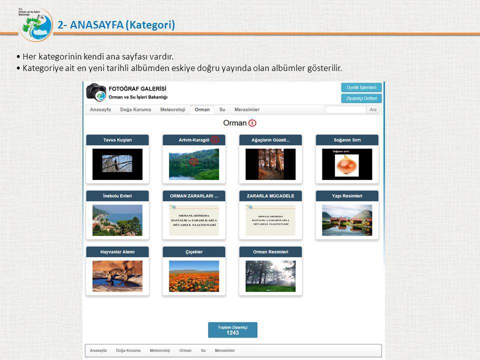 2- ANASAYFA (Kategori) • Anasayfa şu bölümlerden oluşur : 1.Kategori Adı : Anasayfası görüntülenen kategorinin adıdır.